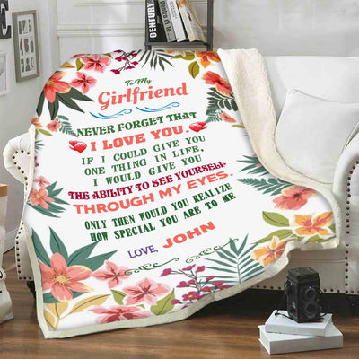 """To My Girlfriend Through My Eyes""- Personalized Blanket"