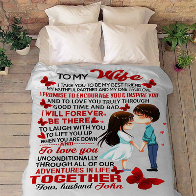"""To My Wife I Promise To Encourage You"" Customized Blanket"