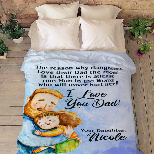 """One Man In The World Who Will Never Hurt"" Customized Blanket For Dad"
