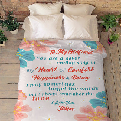 """To My Girlfriend I Always Remember The Tune""- Personalized Blanket"