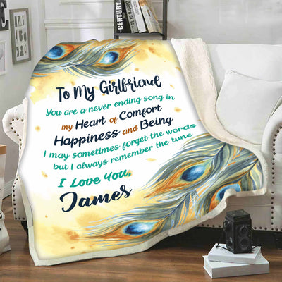 """To My Girlfriend My Heart Of Comfort ""-Personalized Blanket"