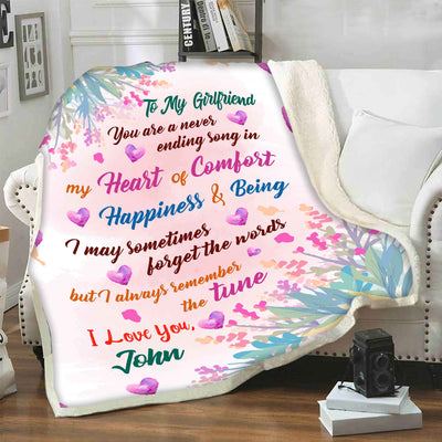 """To My Girlfriend Happiness & Being""- Personalized Blanket"