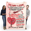 """To My Love- Marrying You Was The Best Decision"" Customized Blanket For Wife"