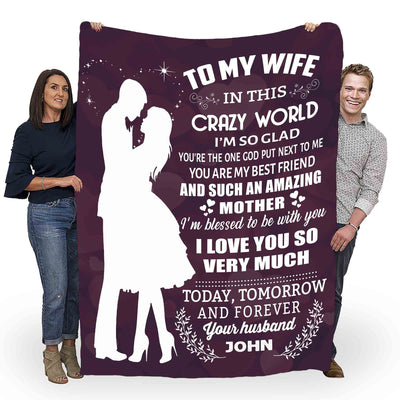 """To My Wife- I'm Blessed To Be With You"" Customized Blanket For Wife"