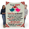 """To My Wife- I Love You Beyond Words Customized Blanket"