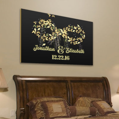 Custom Canvas Wall Art -Gold Infinity Butterflies