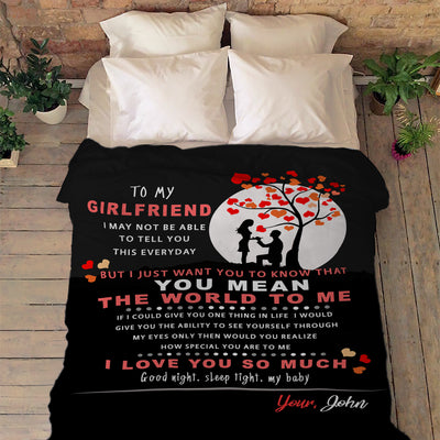 """To My Girlfriend You Mean The World To Me ""- Personalized Blanket"