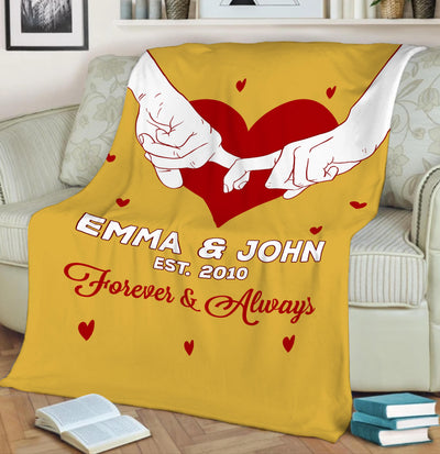Will Never Leave You Customized Blanket with Name and Date