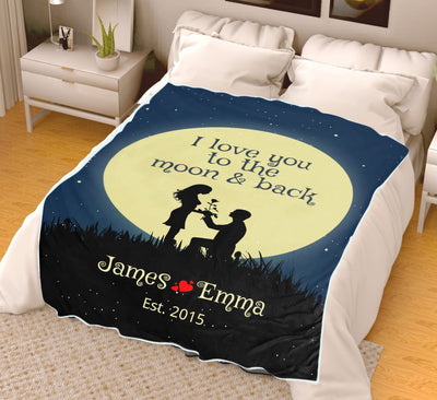 Limited Edition **Love You To The Moon & Back Personalized Couple Blanket**