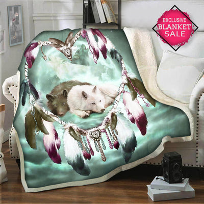 Dreamcather Green Galaxy Wolf Blanket