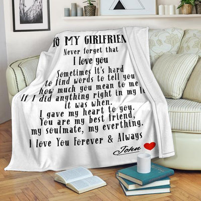 To My Girlfriend - Personalized Blanket