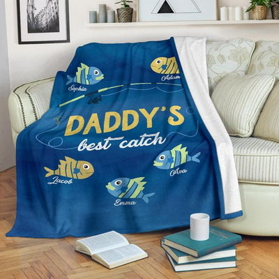 Personalized  Fathers Day Gifts For Dad Grandpa My Best Catch Customized Fleece Blanket Throw Fishing Blanket