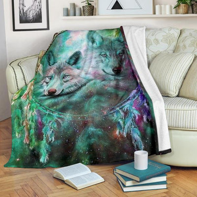 Green Galaxy Sky Wolf Blanket