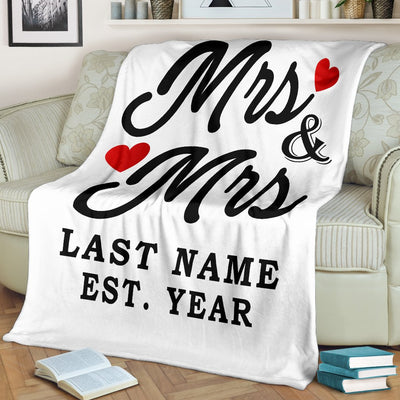 Custom LGBT Mrs & Mrs Love Blanket With Wedding Year