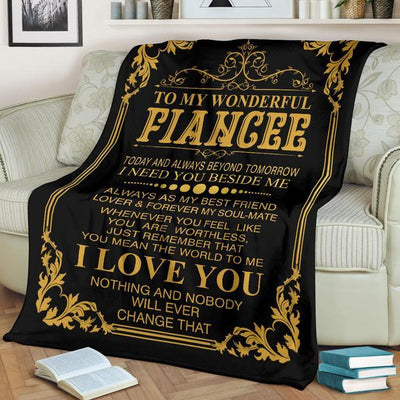 """To My Wonderful Fiancee"" Fleece Blanket"