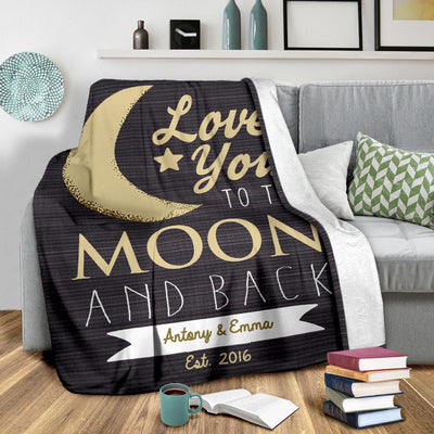 Love You To The Moon & Back Personalized Couple Blanket
