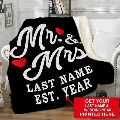 Mr & Mrs Personalized Blanket With Name & Wedding Year