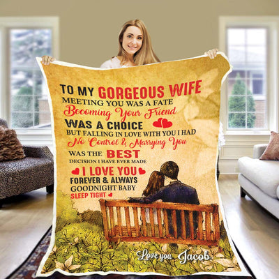 To My Gorgeous Wife - Personalized Blanket