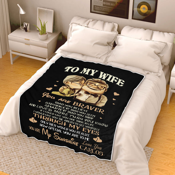 To My Wife Customized Blanket In Black