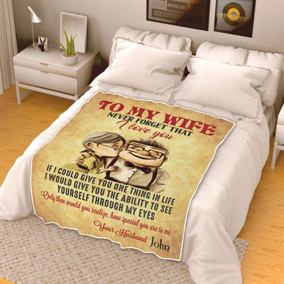 Never Forget That I Love You Personalized Blanket - Perfect Gift For Your Wife