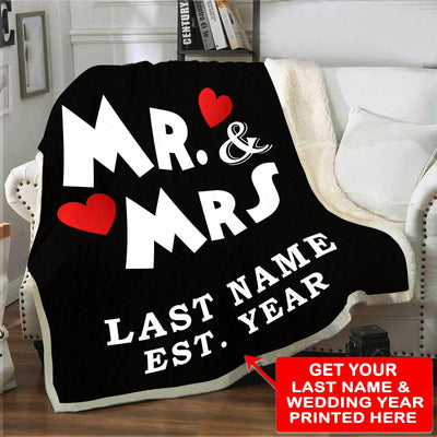 Personalized Mr & Mrs Love Blanket