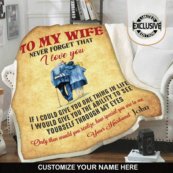 To My Wife - Premium Personalized Blanket