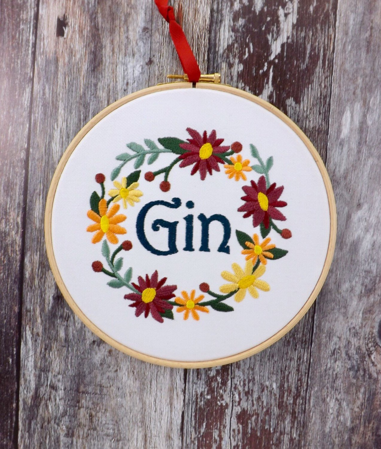 Gin, floral wreath, Embroidery hoop art