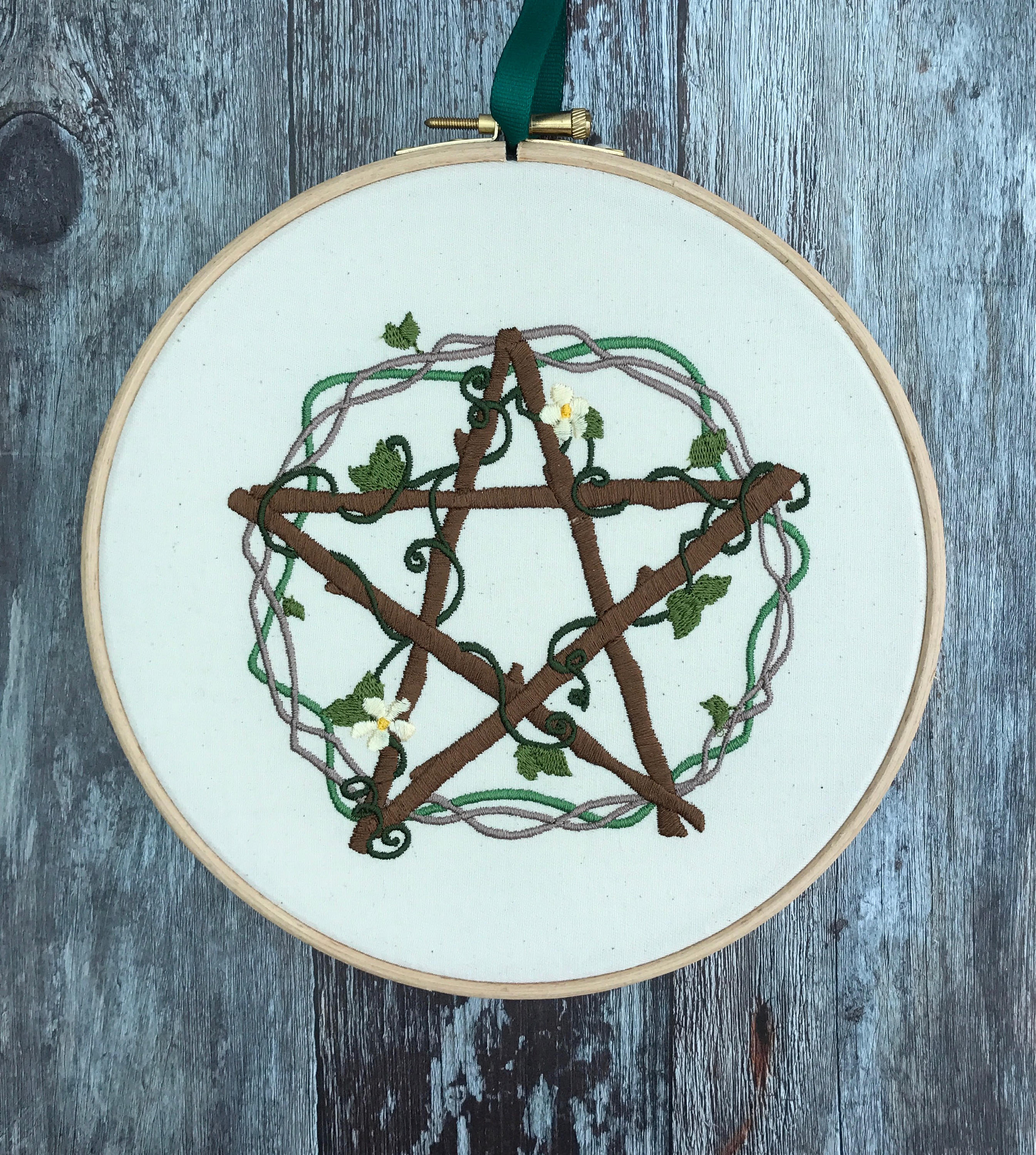 Pentacle of venus, Embroidery hoop art