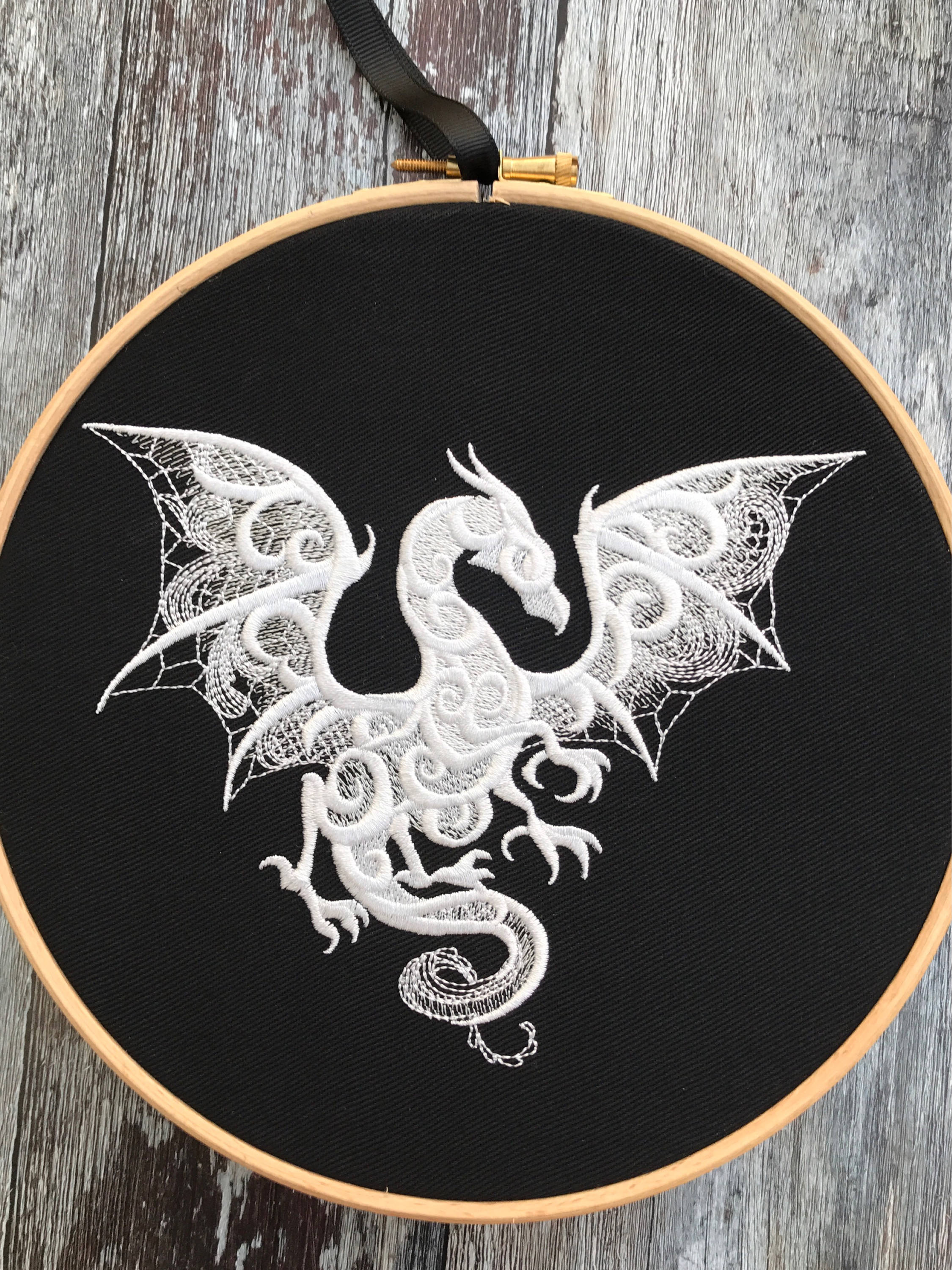 Dragon white lace effect, Embroidery hoop art