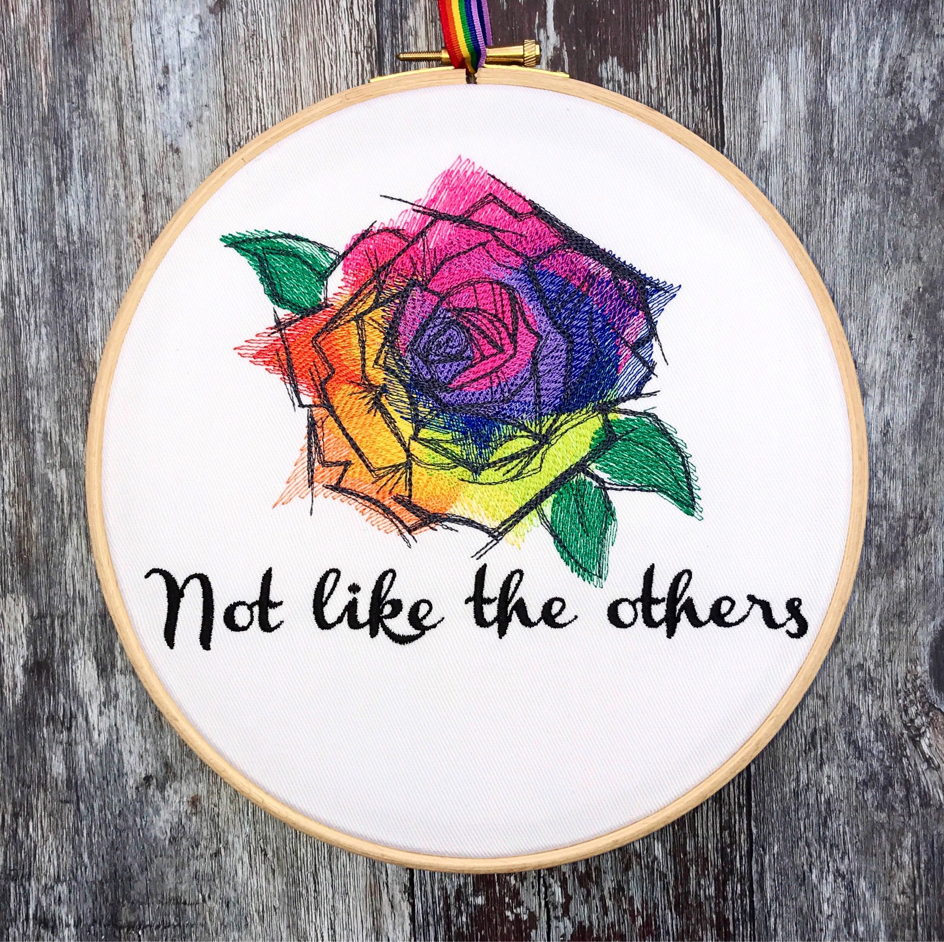 Not like the others, Rainbow Rose, Foo Fighters, Embroidery hoop art