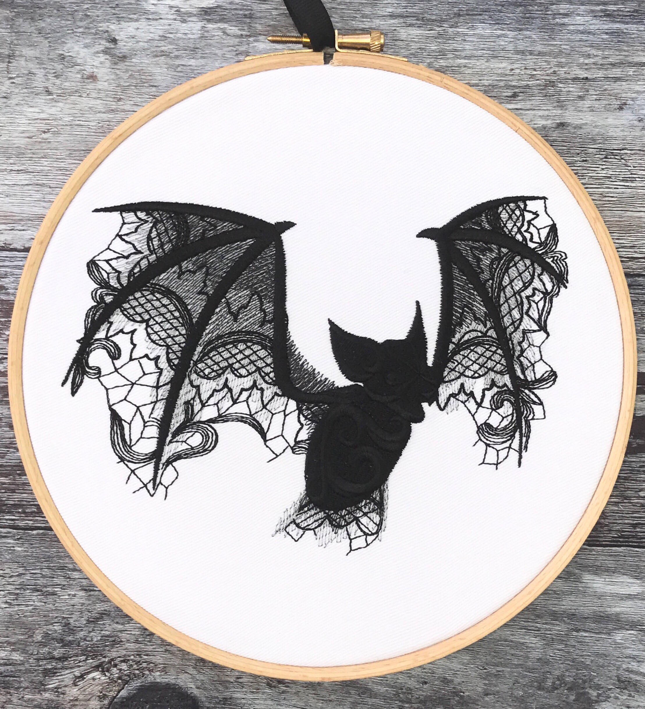 Bat black lace, Embroidery hoop art