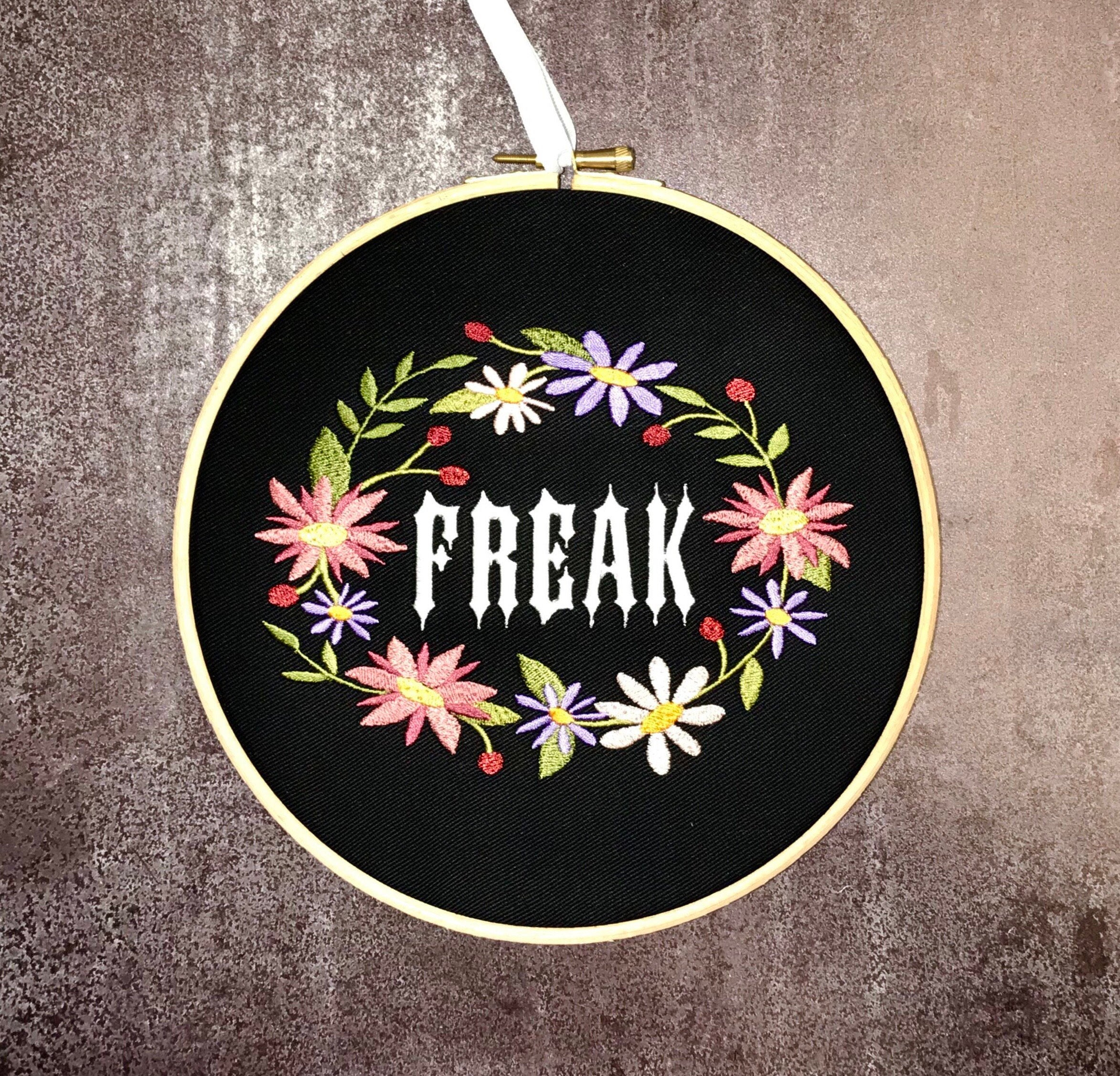 Freak with floral wreath, Embroidery hoop art
