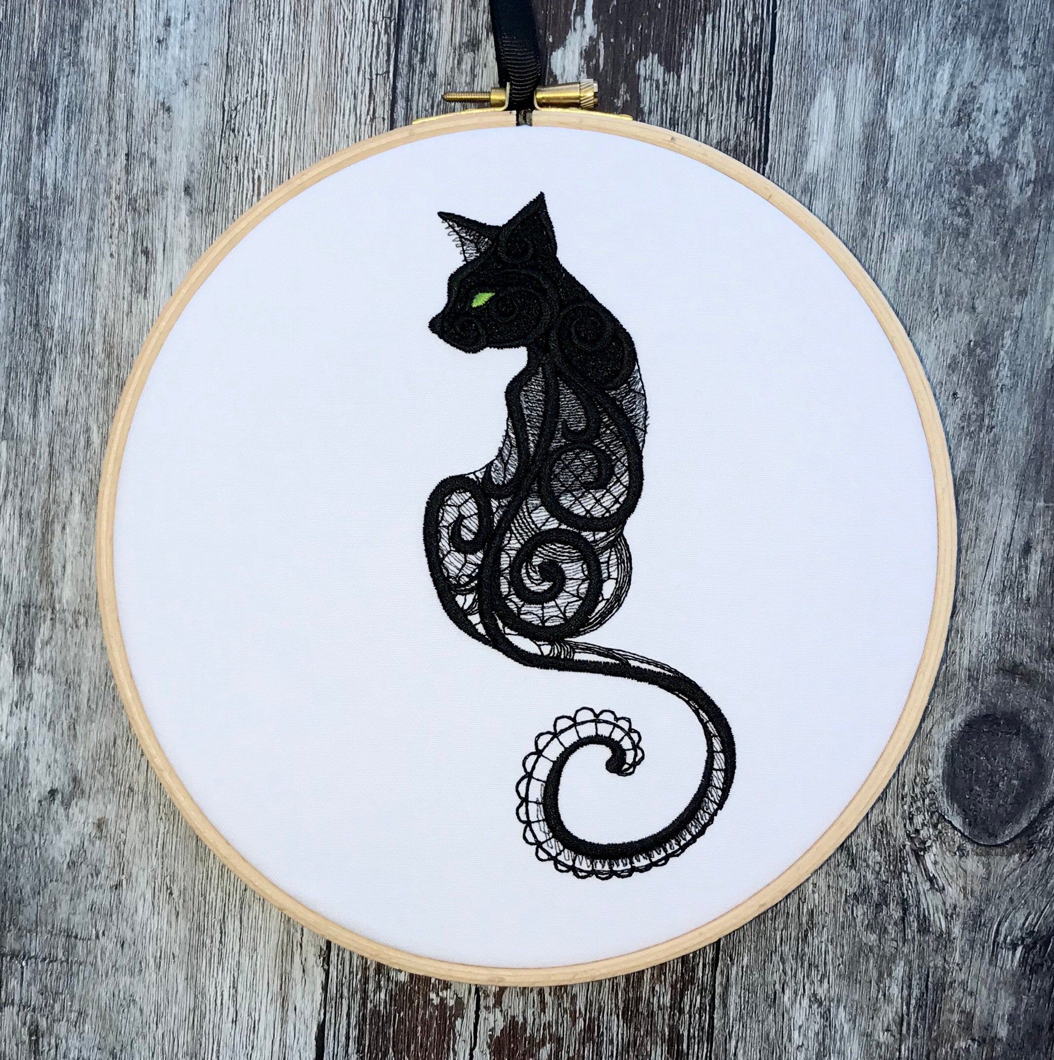 Black lace effect cat, Embroidery hoop art
