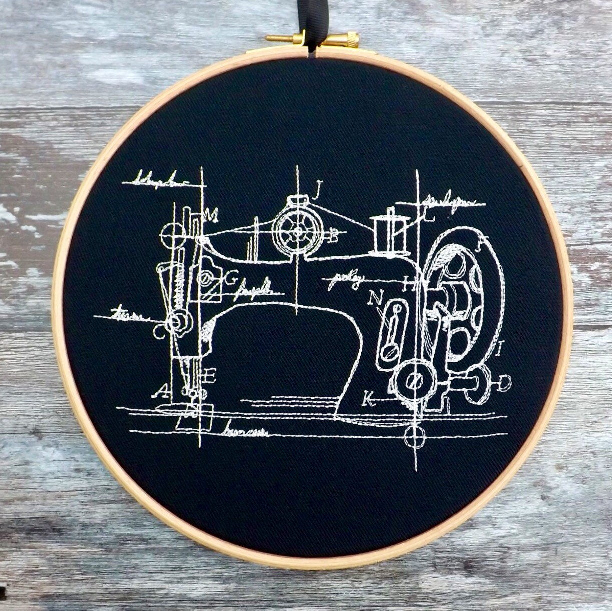 Sewing machine diagram, Embroidery hoop art