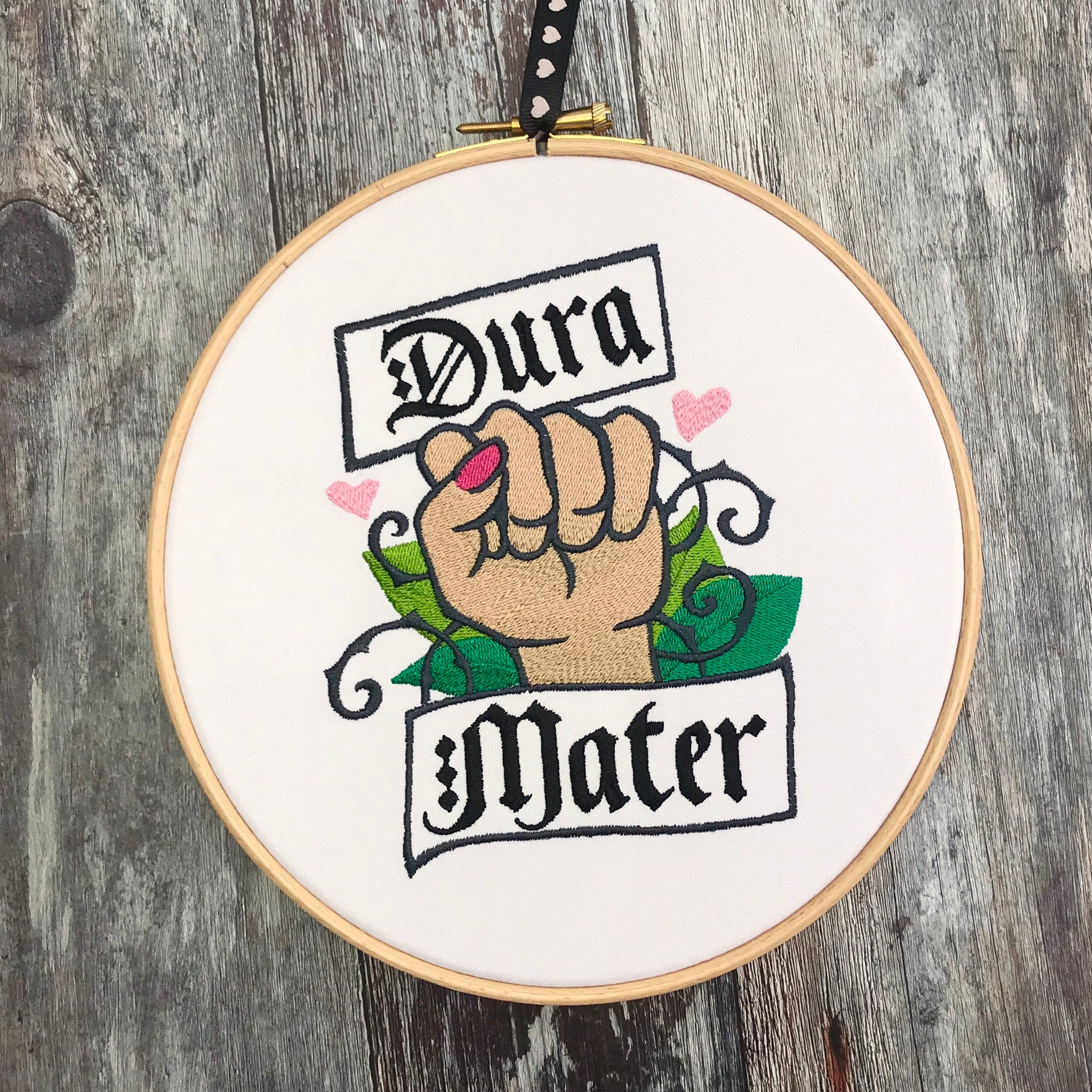 Dura Mater, tough Mother, Embroidery hoop art