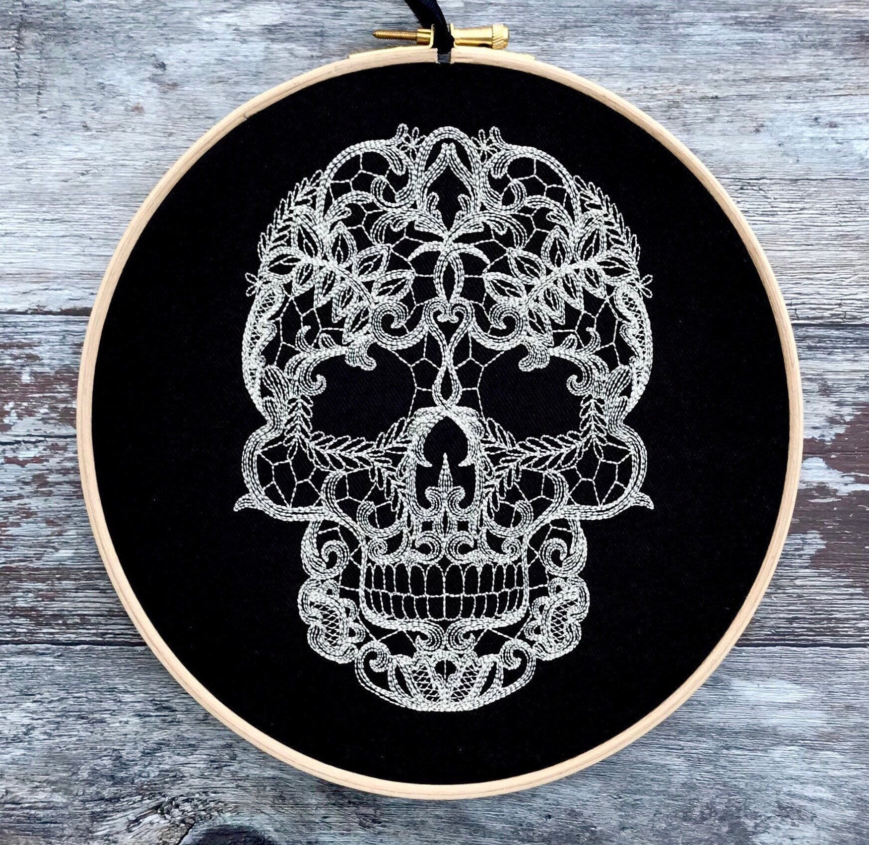 Cream lace skull on black, Embroidery hoop art