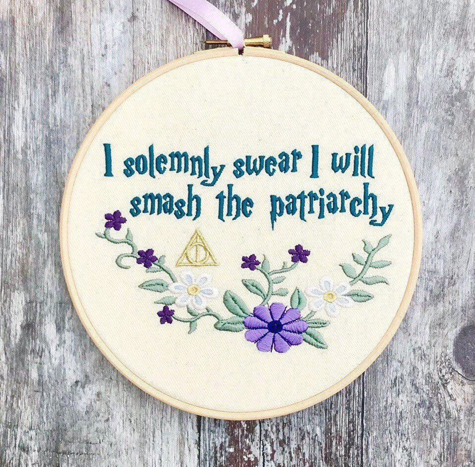 I solemnly swear I will smash the patriarchy Embroidery hoop art