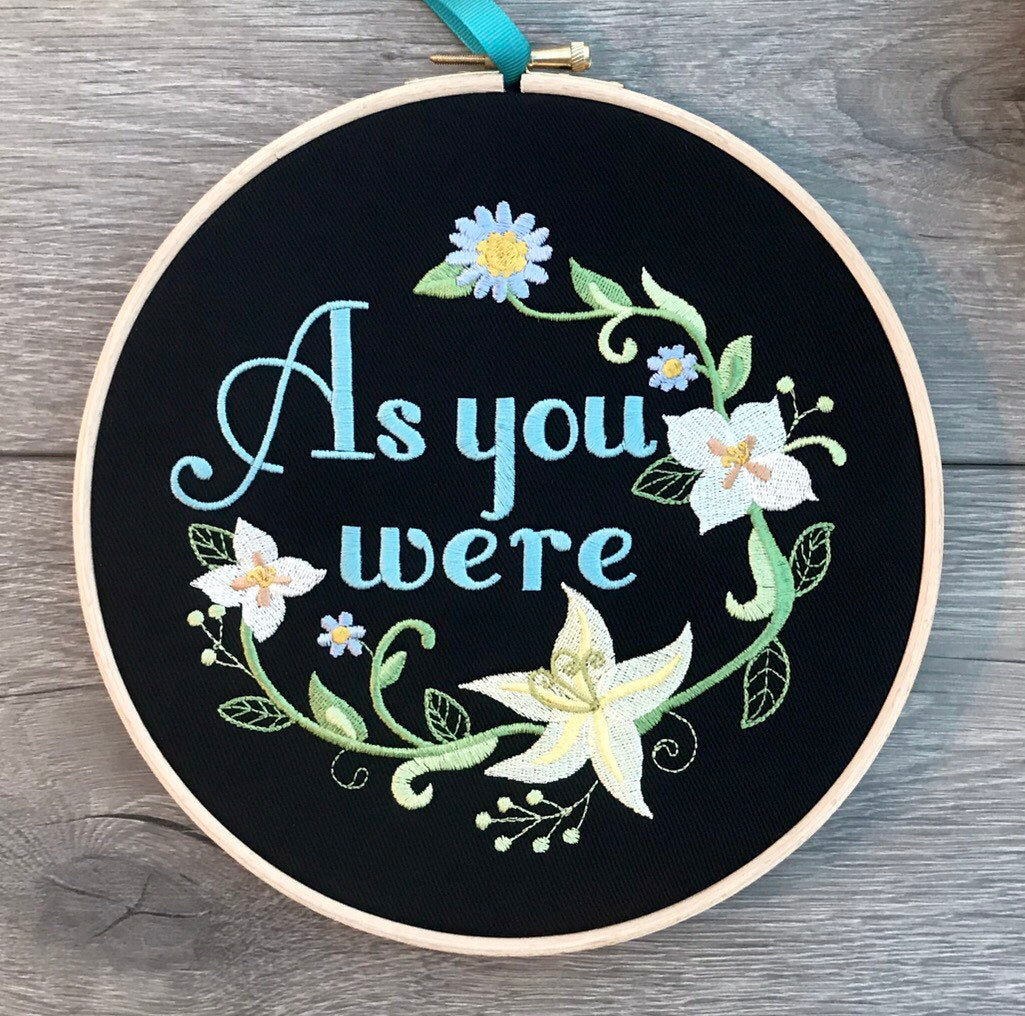 As you were,  Liam Gallagher Embroidery hoop art