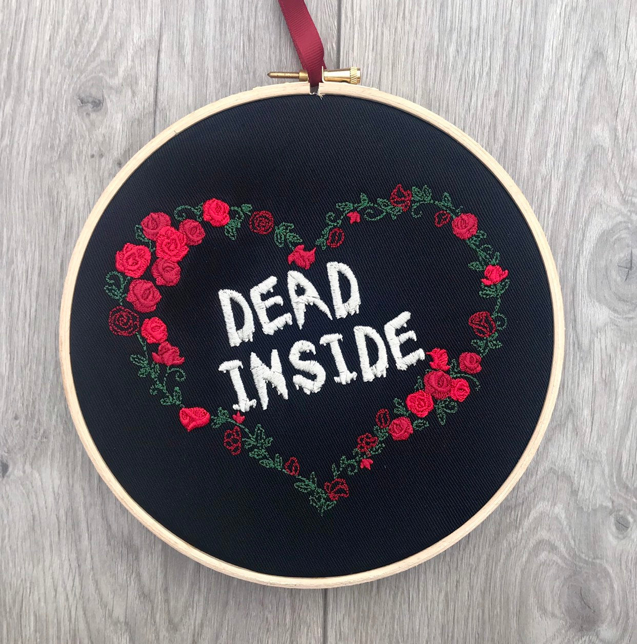 Dead inside, heart of roses embroidery hoop art