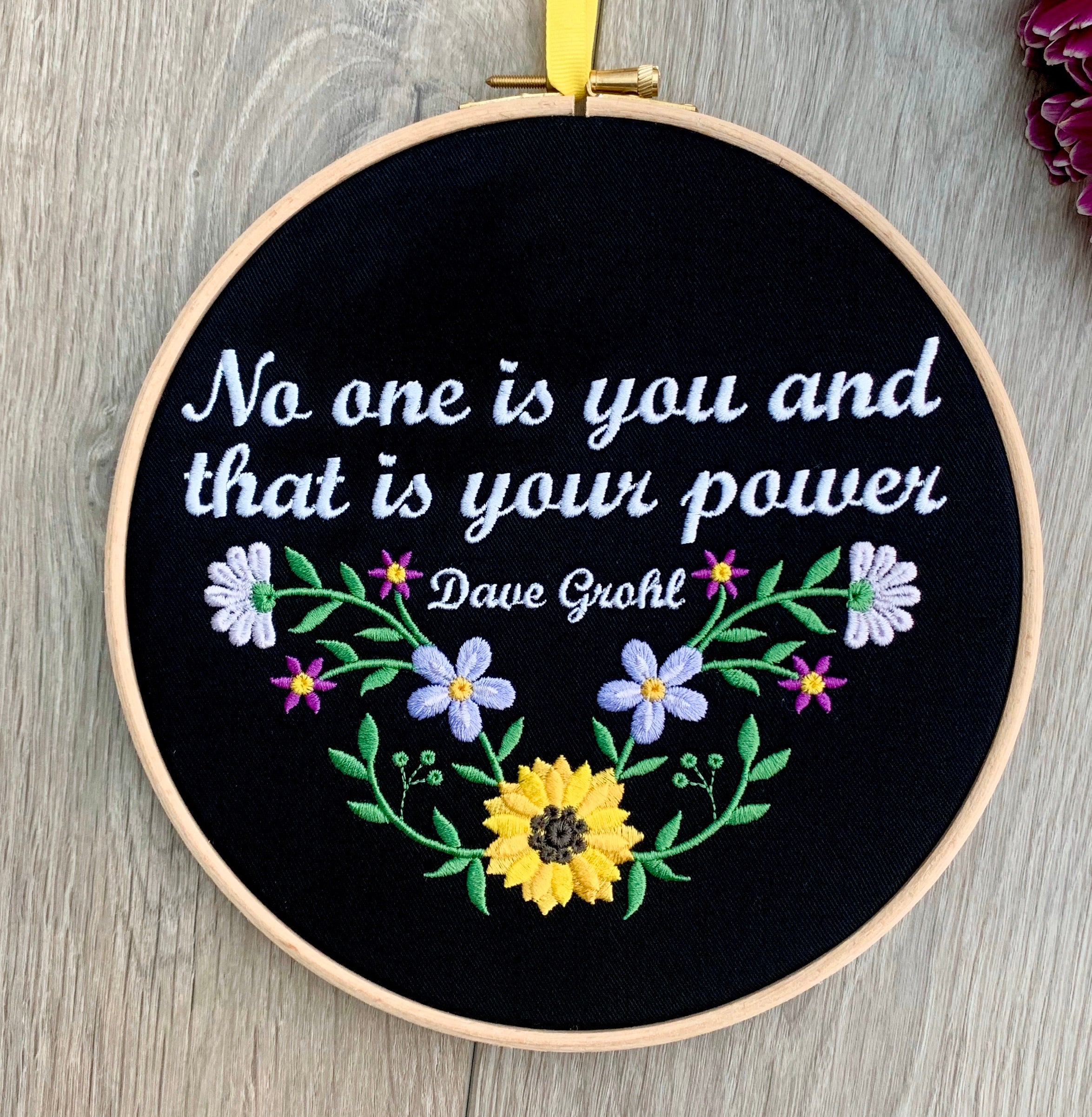No one is you and that is your power, Dave Grohl Foo Fighters, Embroidery hoop art