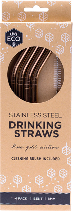Stainless Steel Drinking Straws 4 pack Rose Gold