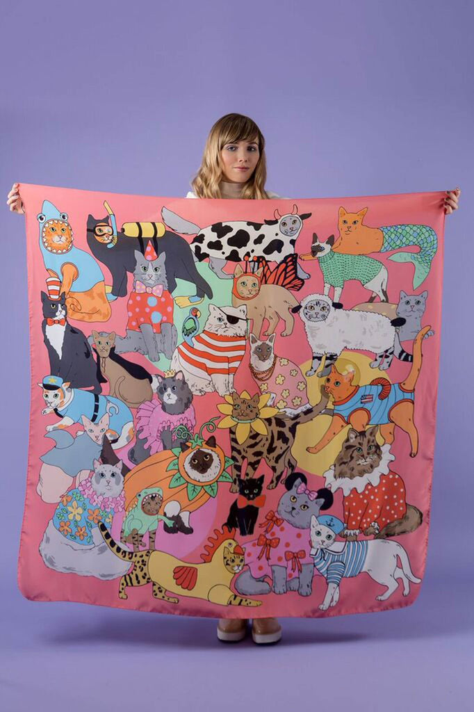 Fancy Dress Cats Oversized Silk Scarf