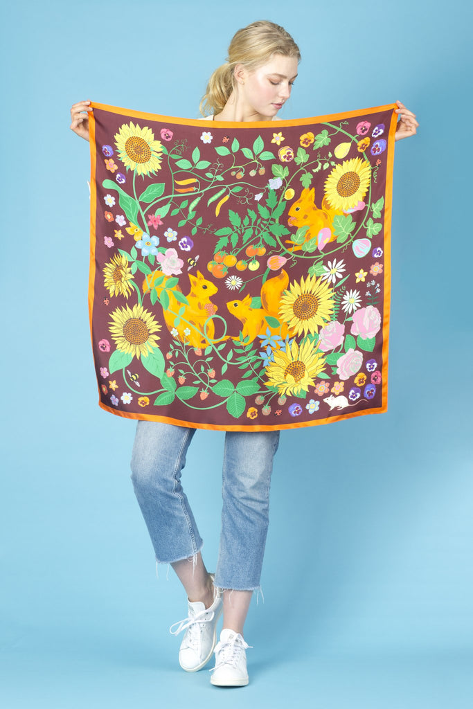 Sunflowers and Squirrels Oversized Silk Scarf