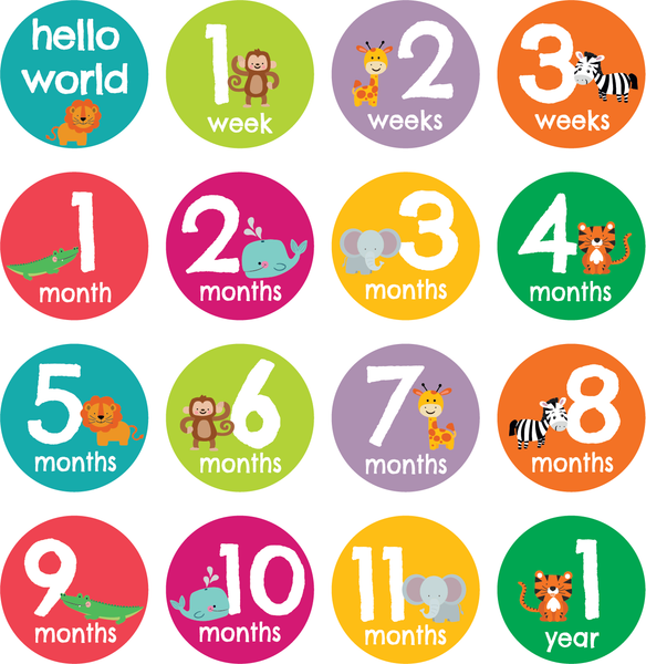 Look At Me Grow Milestone Stickers - Wild About Animals