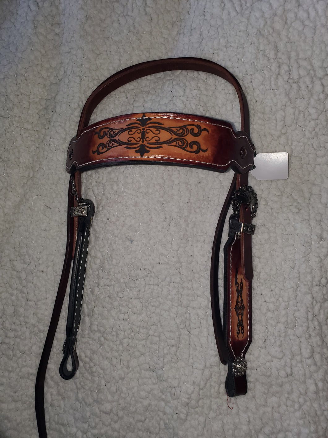 Handmade Burgundy Leather Pony Bridle