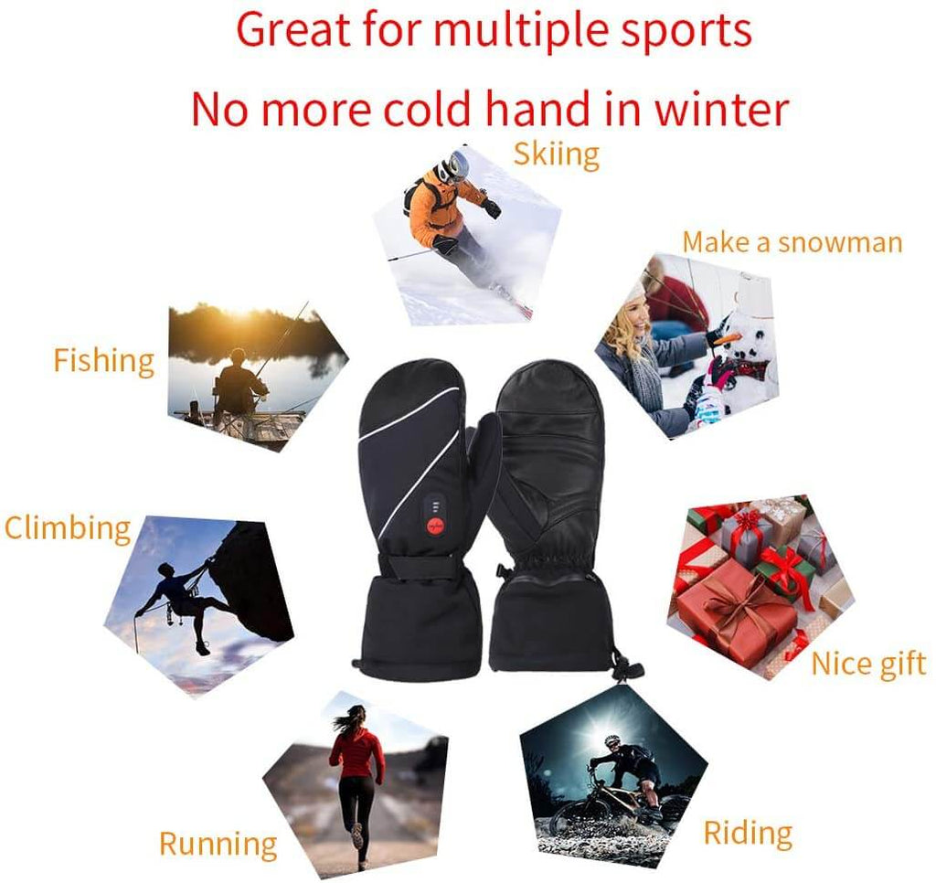 Keepwarming Leather Electric Heated Mittens 9
