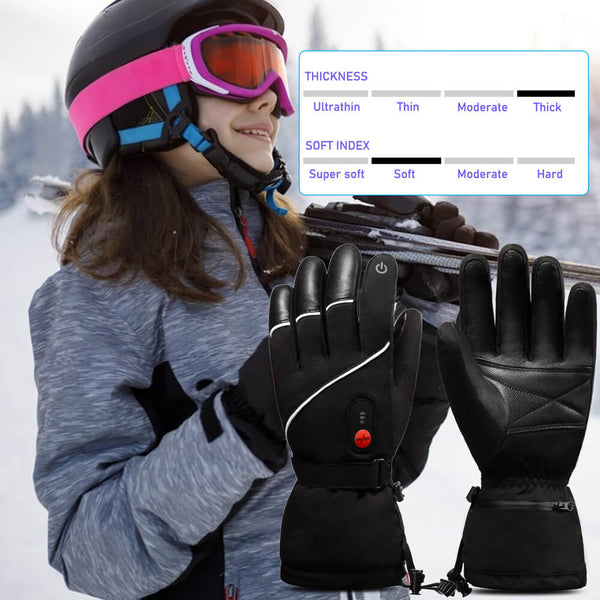Leather Battery Ski Heated Gloves 7