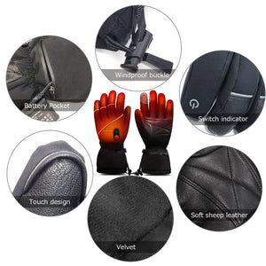 Thick Battery Heated Leather Gloves | Fingertip Touch Screen  |  Savior