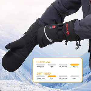 Savior Thick Electric Heated Mittens | 7.4V Rechargeable Battery Gloves For Skiing