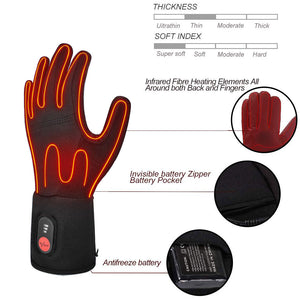Thin Heated Gloves Liners For Men And Women | Fingertip Touch Screen 7.4V Electric Battery | Savior